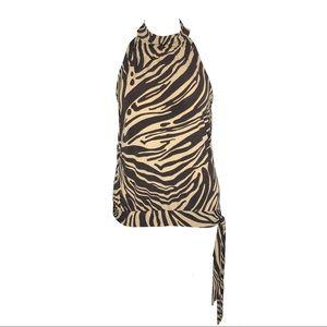 Michael Kors | M | Brown Zebra Striped Halter Top